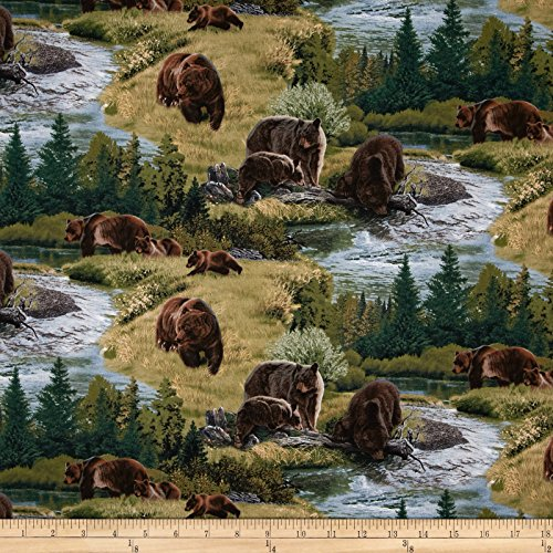 Elizabeth's Studio A A Wild Life Allover Brown Bears Green Fabric By The Yard