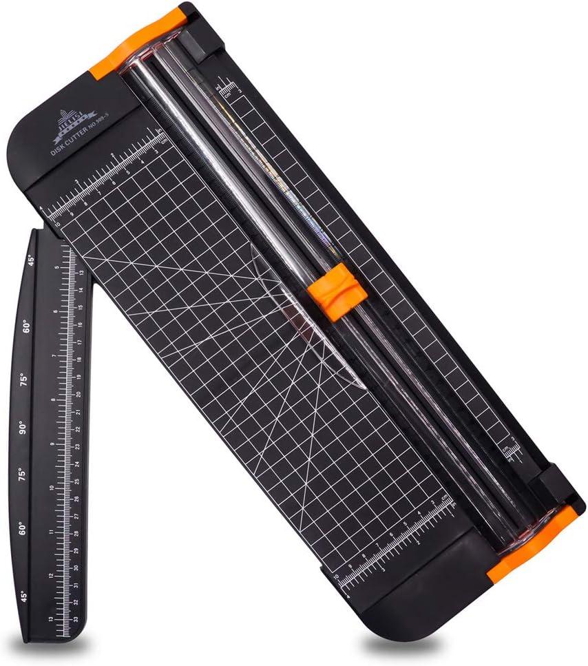 Guillotina Cortador de Papel 12 inch A4 de Titanio con Automático de Seguridad Salvaguardar y Slide Regla Diseño para Cupón Craft etiqueta de Papel o foto (Negro)