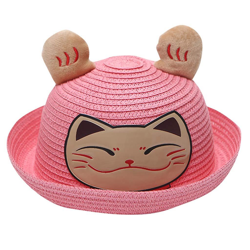 Kintaz Toddler Kid Baby Girl Cartoon Cat Ears Sun Protection Hat Summer Cap Beige