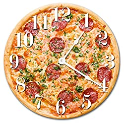 PIZZA CLOCK Large 10.5 Wall Clock Decorative Round Novelty Clock KITCHEN FOOD CLOCK