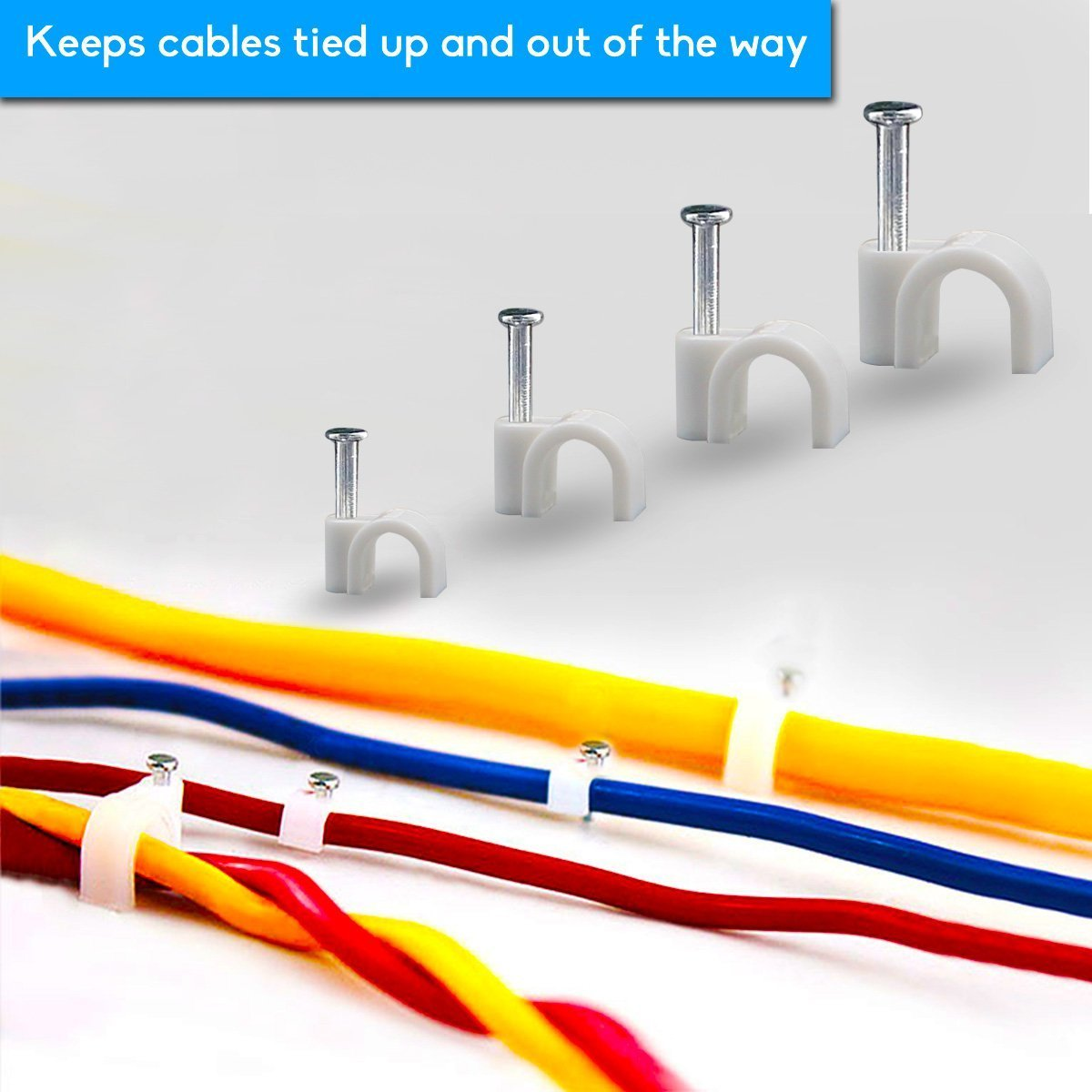Wooopa Cable Wire Clips Assortment 4mm 6mm 8mm 10mm Management Standard Telephone Wiring Electrical Ethernet Dish Tv Speaker Cord Tie Holder Single Coaxial Nail Clamps