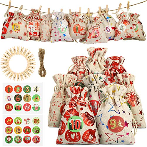 [해외]24 피스 고급 캘린더 선물 가방 나일론 끈 24개 나무 클립 및 크리스마스 DIY 공예품 용품 용 태그 / 24 Pieces Advent Calendar Gift BagsNylon Cord, 24 Pieces Wooden Clips and 24 Pieces 24 Days Stickers Tags for Christmas DIY Crafts Suppl...