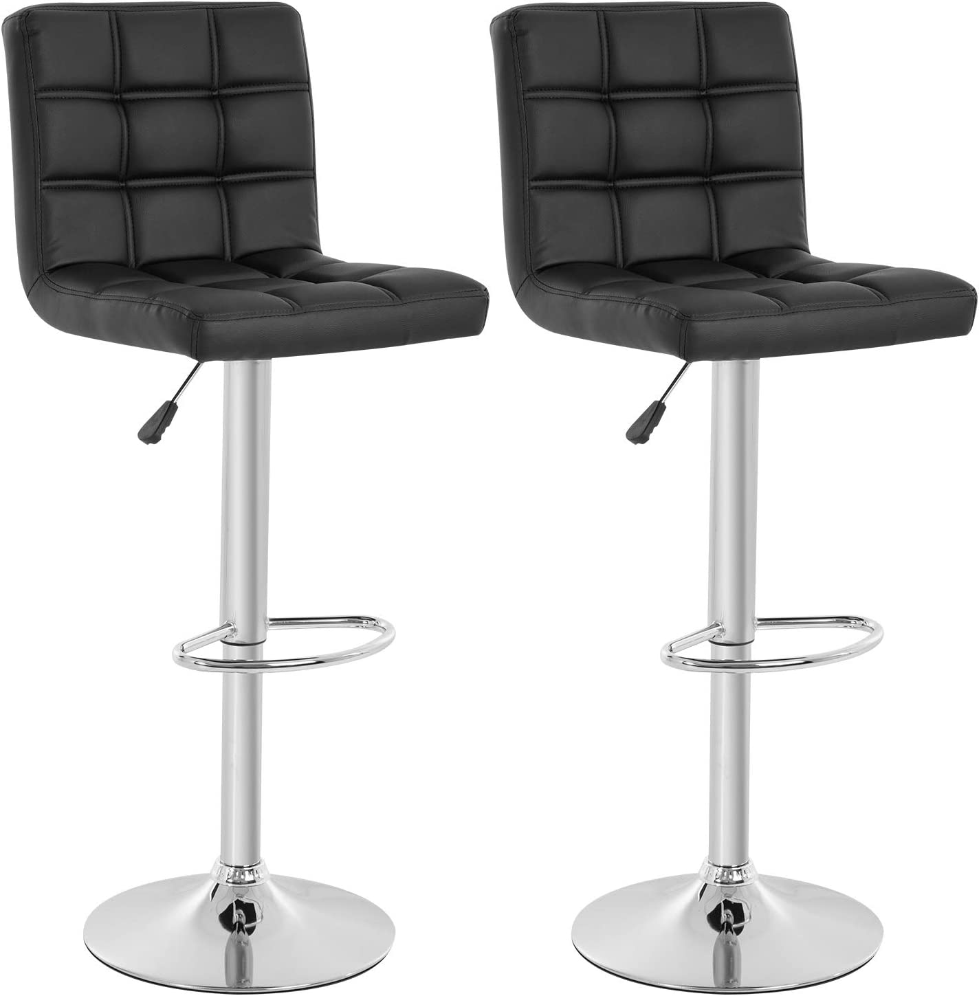 Modern Bar Stool Set of 2 Barstools Height Adjustable Counter Height Swivel Bar Stool PU Leather Bar Chairs Hydraulic Dining Room Chairs Home Kitchen Stools