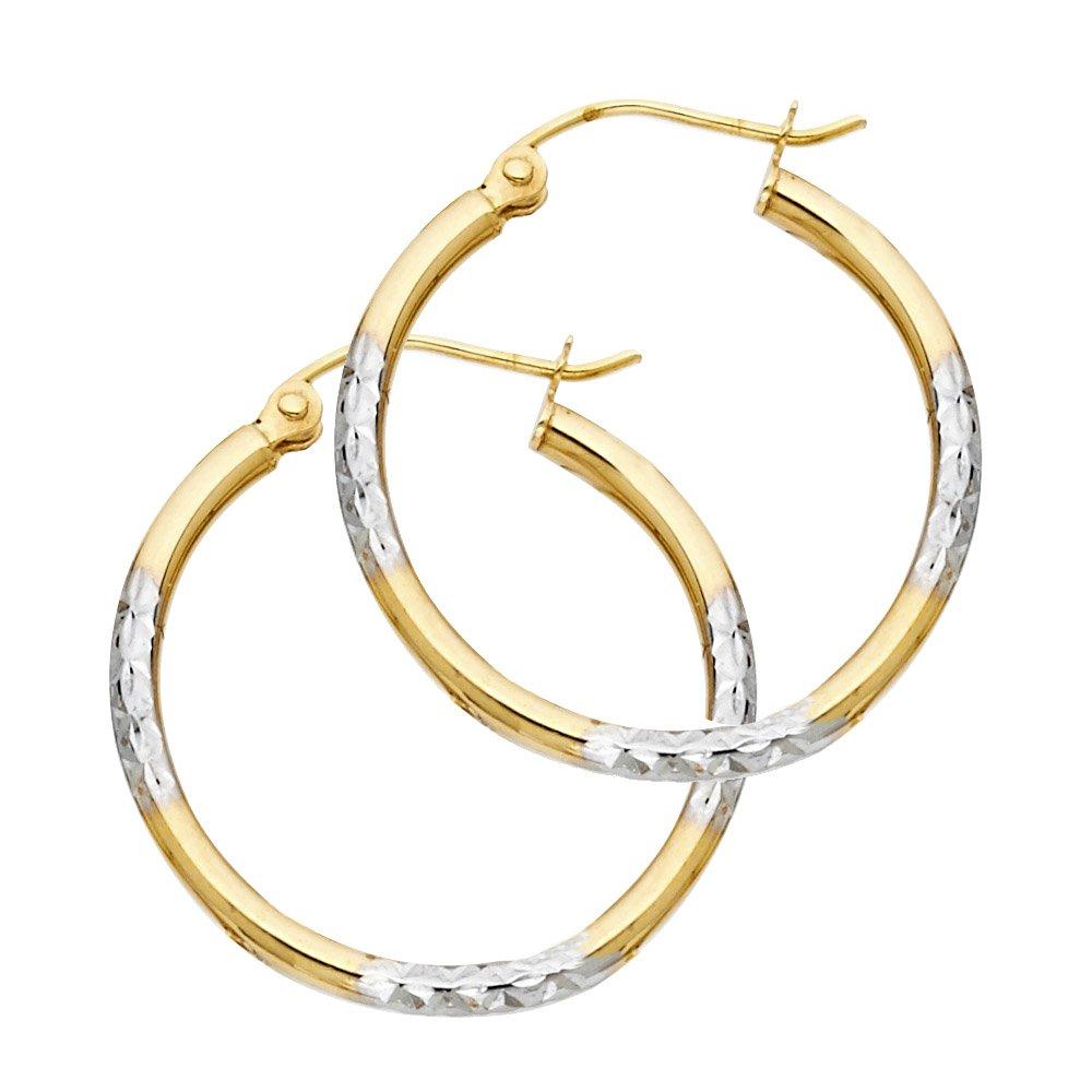 14k Two-Tone Gold Diamond-Cut Hoop Earrings, 25mm X 25mm
