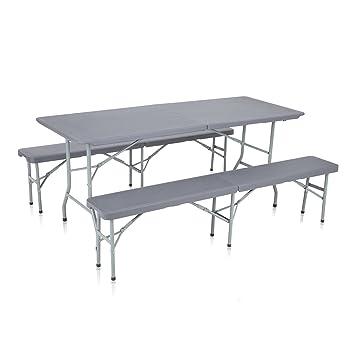 Strattore Ensemble Table Banc de Jardin en Plastique Traiteur Pliante Table  Buffet Picnic Plateau Camping Pliable avec Poignée en Gris foncé