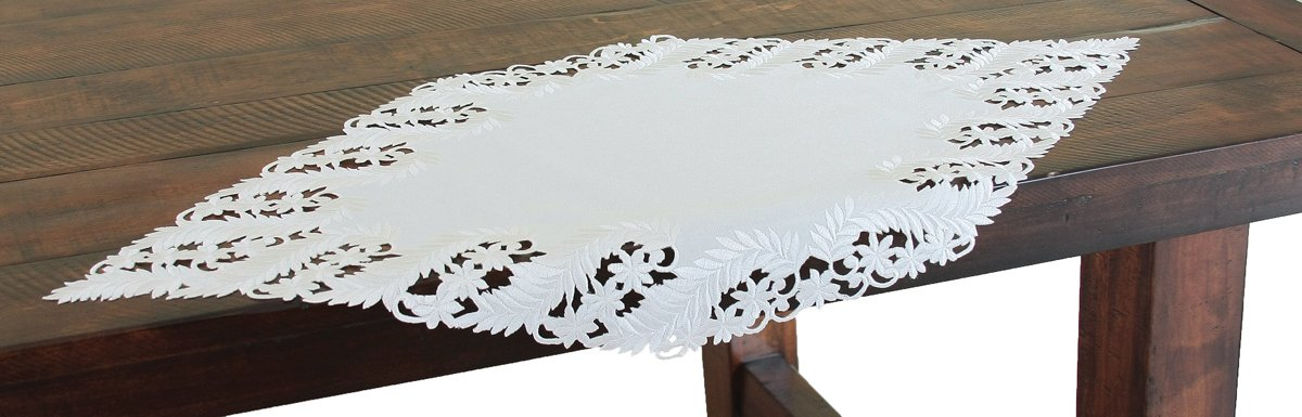 Xia Home Fashions Laurel Embroidered Cutwork Spring Table Runner, 16 by 34-Inch, White