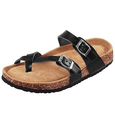 e165cdaba5870 LA PLAGE Womens Faux Leather Cork Sandals Adjustable Toe Ring Slide for  Summer