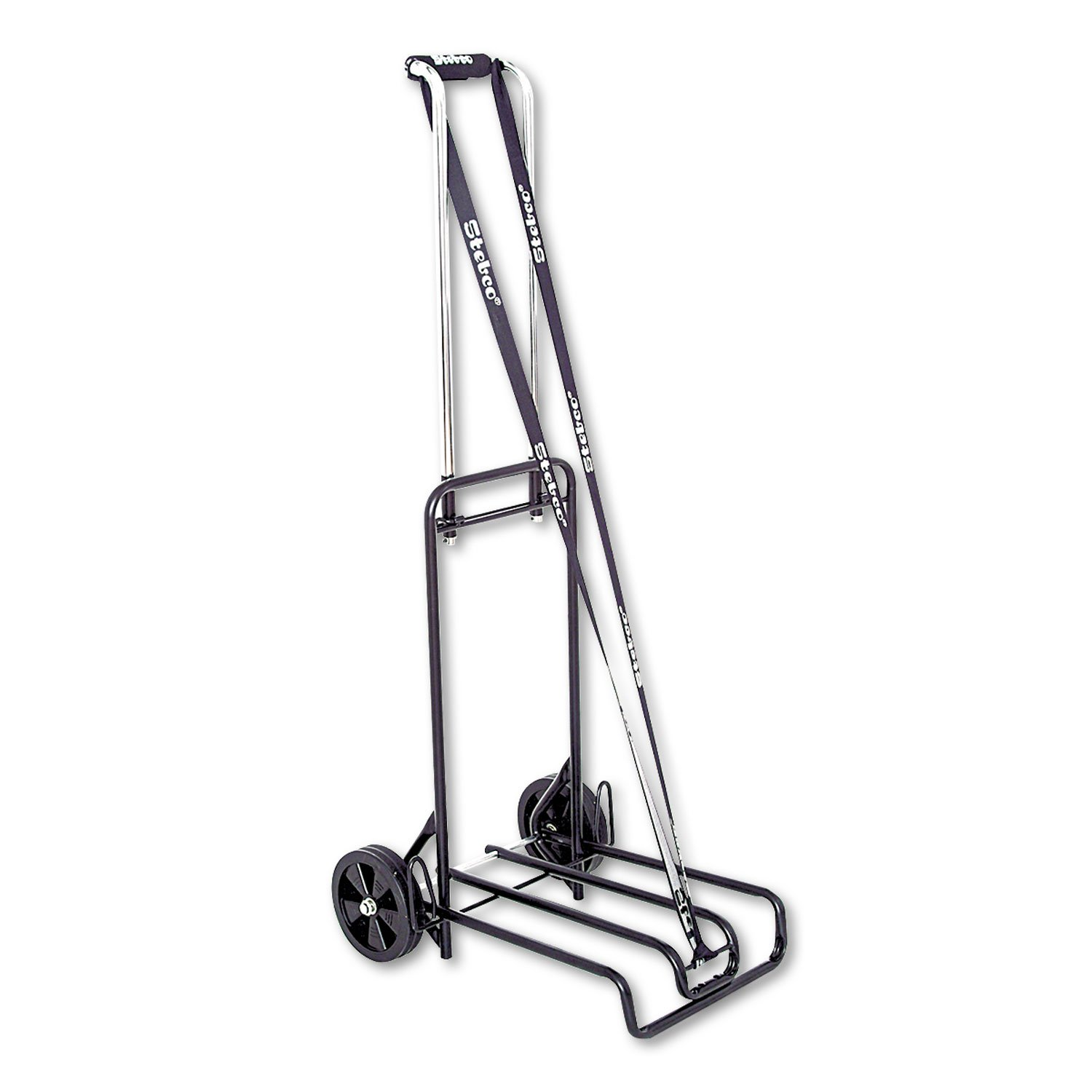 Stebco Luggage Cart - Telescopic Handle - 113.40 kg Capacity - 6 (152.4 mm) Caster Size - Steel - 15.5 Width x 19 Depth x 44.5 Height - Steel Frame - Chrome S.P. Richards CA STB390007BLK