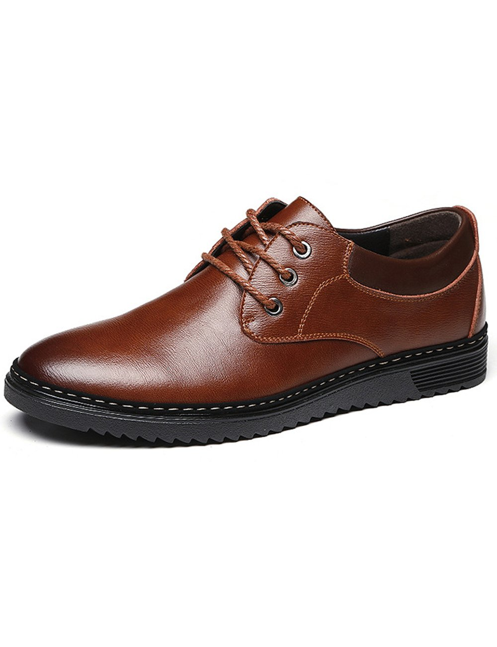 Zoulee Men's Oxford Dress Shoes Formal Leather Shoes Flats Laces Business Shoes Brown US 7.5//CH 40