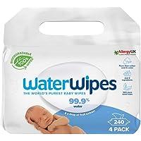 WaterWipes Toallitas de bebé (4 x 60 unidades), las toallitas húmedas más puras para pieles suaves de bebé, toallitas…