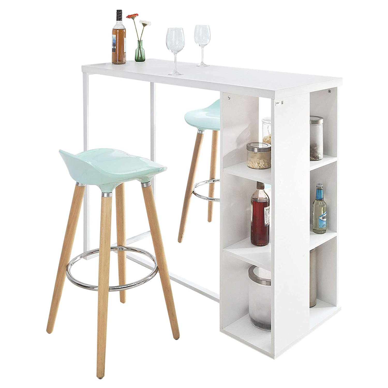 SoBuy® FWT39-W, Kitchen Breakfast Bar Table Dining Table Coffee Table with 3-Tier Storage Rack