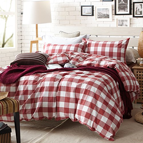 The Fit Paisley Textile Bedding for Adult U608 Red Checkered Duvet Cover Set 100% Washed Cotton, Twin Queen King Set, 3-4 Pieces