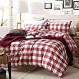TheFit Paisley Textile Bedding for Adult U608 Red Checkered Duvet Cover Set 100% Washed Cotton, Twin Queen King Set, 3-4 Pieces (Queen)