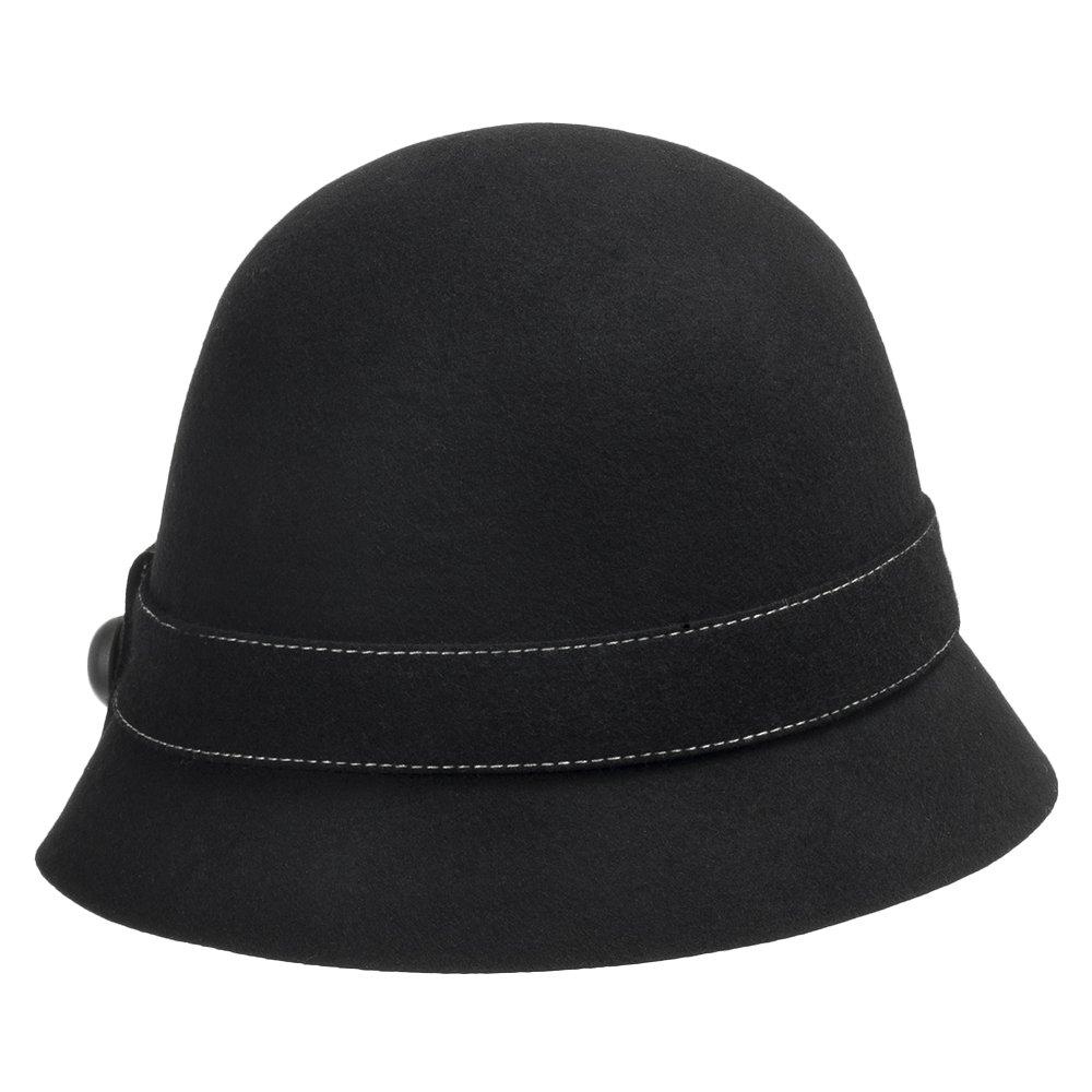 Elle Wool Felt Classic Vintage Style Cloche Bucket Bell Winter Hat with Bow Black 7 1/8 by Ultrafino