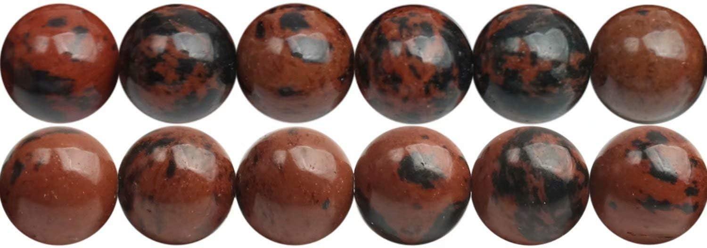Cuentas redondas de piedras preciosas para collar, pulsera, pendientes, 4 mm, 6 mm, 8 mm, 10 mm, 12 mm vendido por Strand, Obsidiana de caoba, 4 mm
