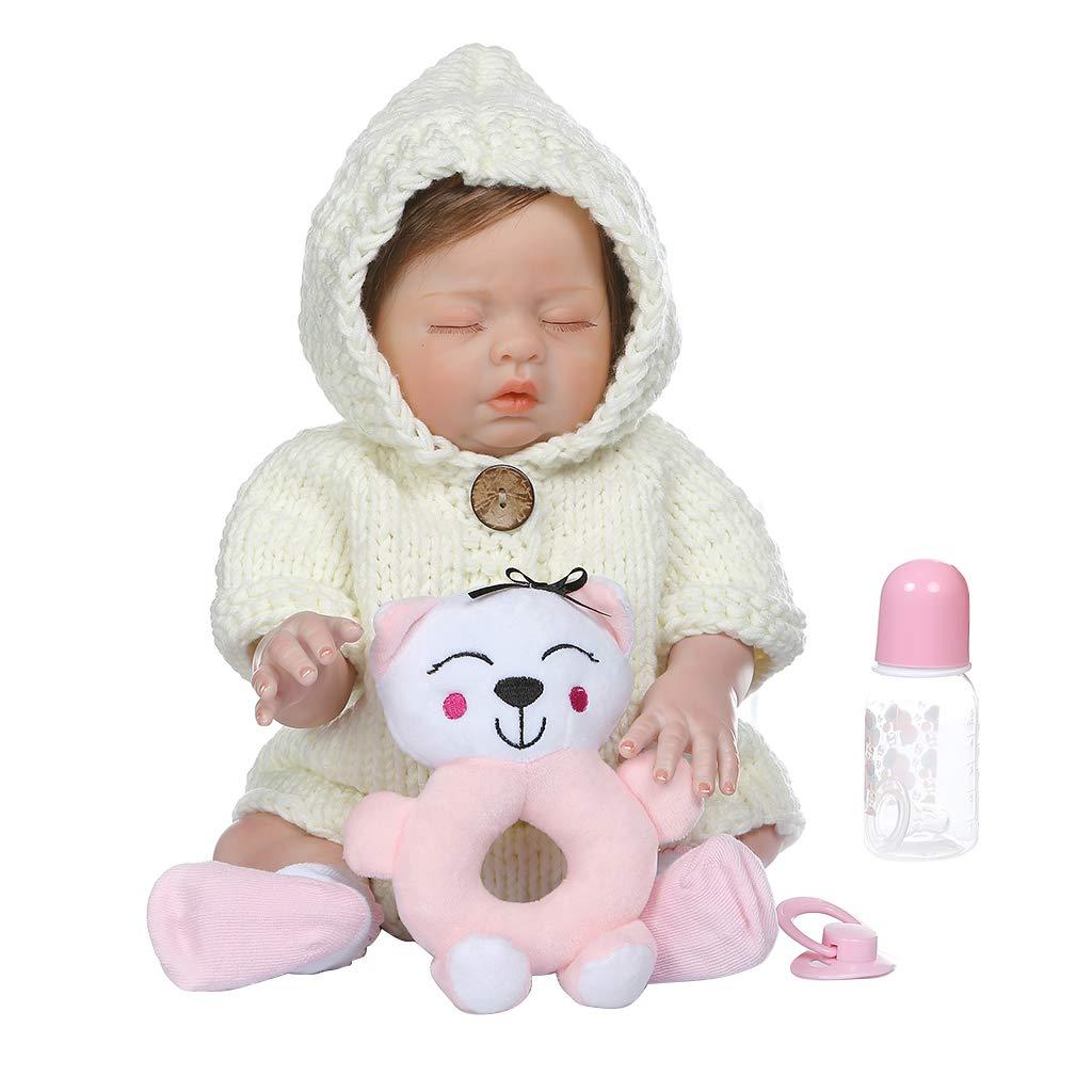 ventas al por mayor blanco Vivitoch - Muñeca realista realista realista de 48 cm de vinilo de silicona suave para recién nacido, juguete realista hecho a mano para niños, regalos de Navidad gris  para barato