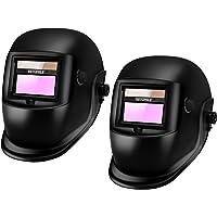 VETOMILE Variable-Shade Auto Darkening Welding Helmet Black, LCD filter ADF ARC TIG MIG Welder Lens Grinding Mask(Pack of 2)