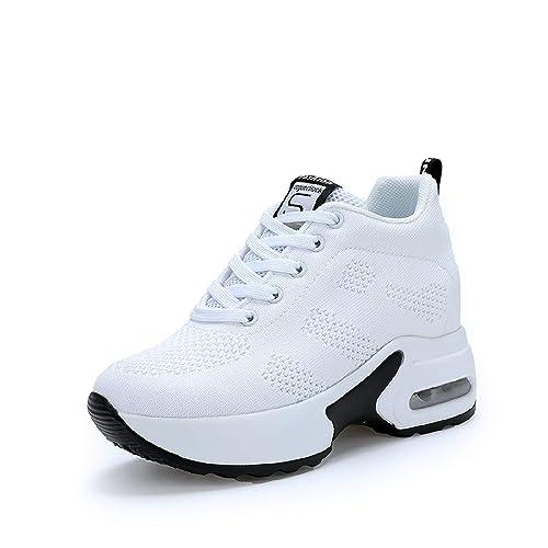 AONEGOLD Zapatillas de Cuña para Mujer Zapatillas de Deporte Zapatillas Altas Tacón Cuña 8cm: Amazon.es: Zapatos y complementos
