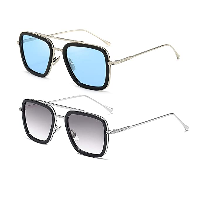 Vintage Aviator Square Sunglasses for Men Women Gold Frame Retro Brand Designer Classic Tony Stark Sunglasses