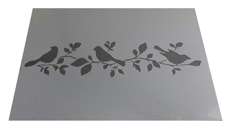 Vintage Shabby Chic Oiseaux sur arbre fleur Plastique Pochoir A4/297/x 210/mm pour meuble murs Des2