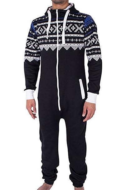 AiJump Mono Pajama Unisexo Onesie Playsuit Pijama de una Pieza Estampada con Capucha para Hombre Mujer Cosplay Navidad Carnaval: Amazon.es: Ropa y ...
