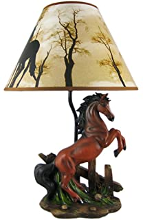Brown Stallion Horse Table Lamp W/ Nature Print Shade