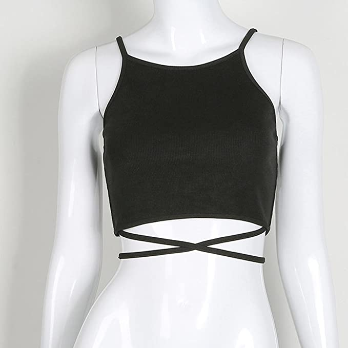Amazon.com: FDelinK Clearance Women Sexy Sleeveless Back Criss Cross Strap Tie up Crop Top Tank Camisole: Clothing
