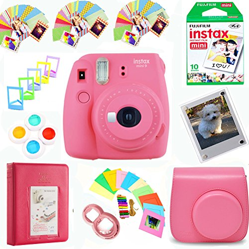 Fujifilm Instax Mini 9 Film Camera (Flamingo Pink) + Film Pack(10 Shots) + Photix Pleather Case + Filters + Selfie Lens + Album + Frames & Stick-on Frames Exclusive Instax Design Bundle