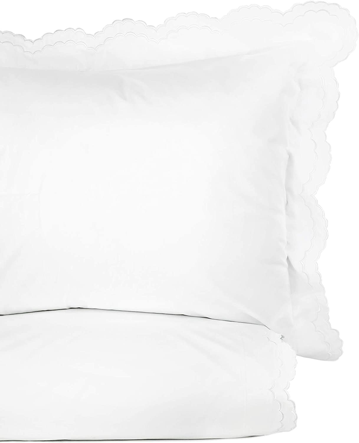 Melange Home Percale Cotton Double Scalloped Embroidered TW Duvet Set, Twin, White on White