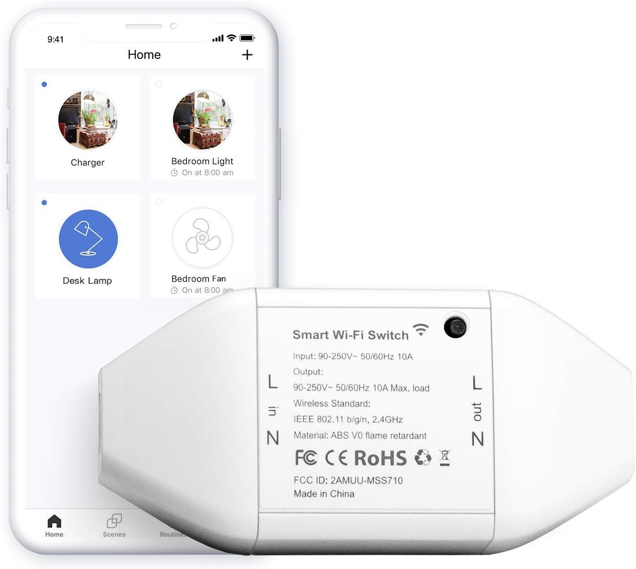 Interruptor Universal Inteligente con Wi-Fi, con Control Remoto Meross App. Compatible con Alexa, Google Assistant y SmartThings. Modelo MSS710