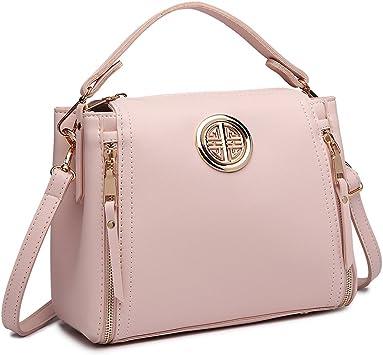 Oferta amazon: Miss Lulu Marca Mujeres Top Mango Bolsa Pu cuero cruzada bolso elegante bolso bolso pequeño clásico para mujer bolso de hombro (Rosa)
