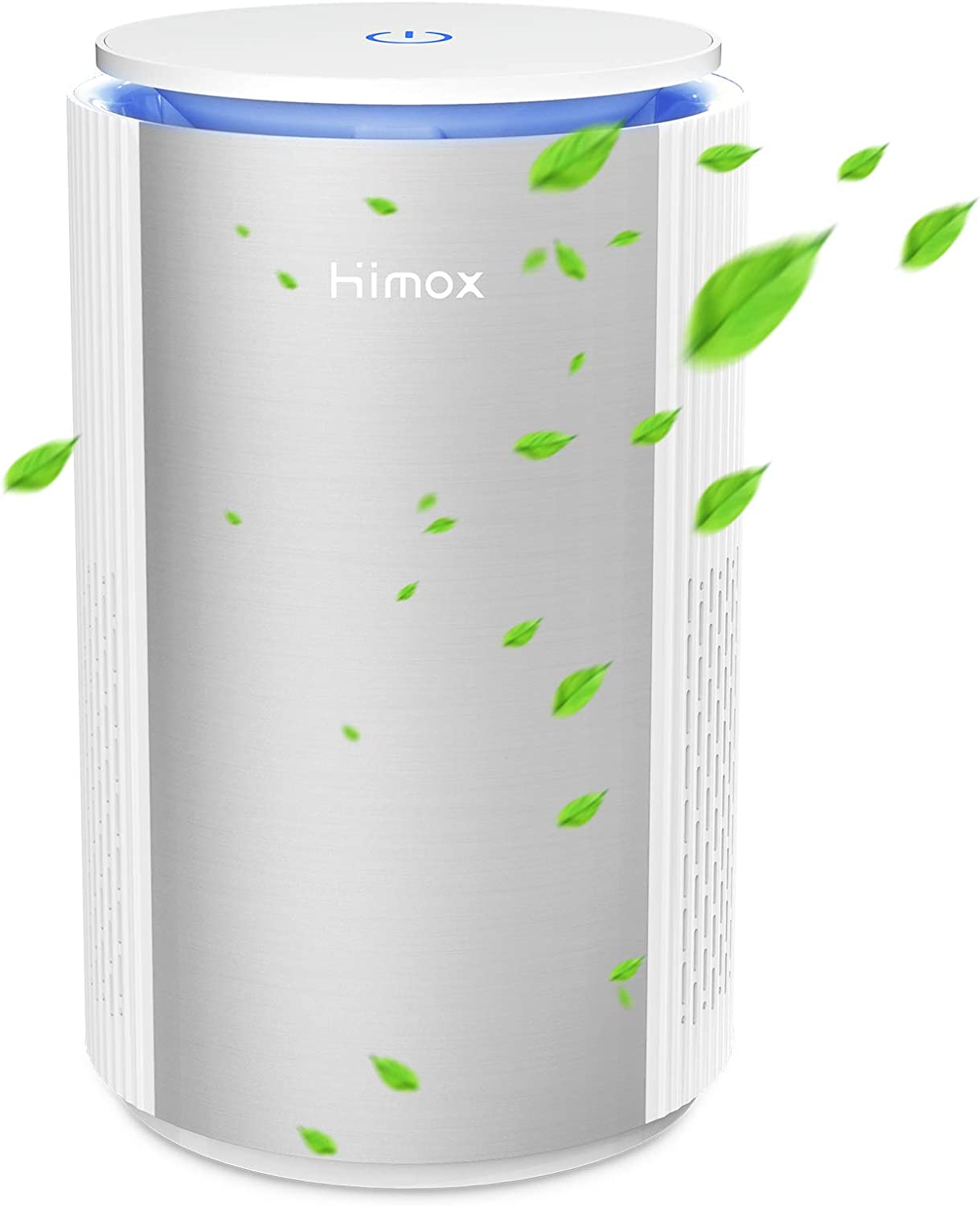 HIMOX Air Purifier Small Room for Bacteria, Smoke, Allergens, Pets Dander, Odor, 20db, Ture HEPA Filter Desktop Air Purifiers with Night Light for Home, Bedroom, Office, USB Air Cleaner for Christmas H-09