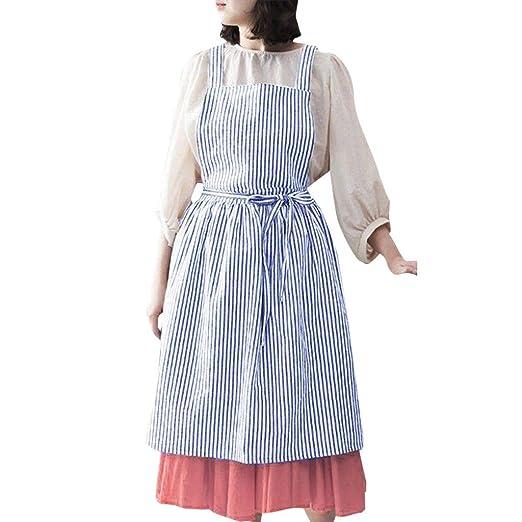 2e381f93a8 KASAAS Dresses for Women Linen Stripe Sleeveless Home Cooking Florist Cute  Bib Apron Pinafore Back Tie
