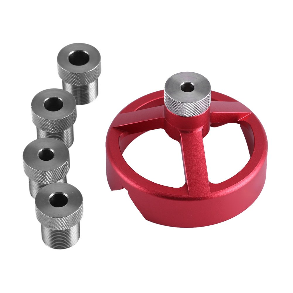 Self Centering Drill Bit Guide Jig,6/7/8/9/10mm Drill Bushings Vertical Hole Woodworking for Electric Power Hand Drill (Red)