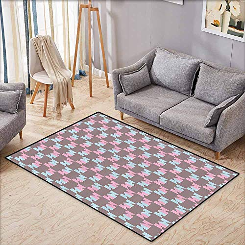 (Living Room Rug,Geometric,Abstract Graphic Arrow Design Striped Patchwork Repeating Pattern,Ideal Gift for Children,4'11