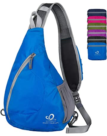 WATERFLY Sling Chest Backpacks Bags Crossbody Shoulder Triangle Packs  Daypacks for Cycling Walking Dog Hiking Boys 5ef2f0d623