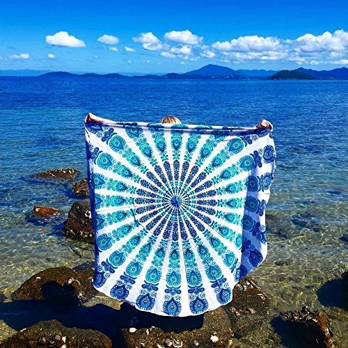 Cotton Indian Tapestry Mandala Roundies Beach Throw Indian Round Blue Mandala Tapestry Yoga Mat Picnic Mat Table Throw Hippy Boho Gypsy Round Blue Tapestry Round Tablecloth Tapestries Sofa (Blue Tapestry Throw)