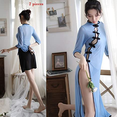 84a49eb8a06 QWE Sexy Lingerie Long Cheongsam Dress European and American Sexy Mesh Transparent  Pajamas Sexy Lingerie Ladies