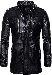 Andre Herren Casual Kunstleder Lange Jacke Fit Outdoor Stehkragen Motorrad Lange Ledermantel mit Reißverschlüssen (Color : Black, Size : M(Bust=40.94Inch))