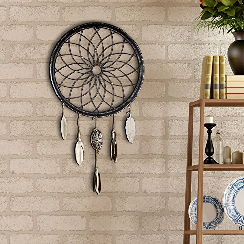 American Art Decor Dreamcatcher Wheel with Feathers Metal Farmhouse Decor