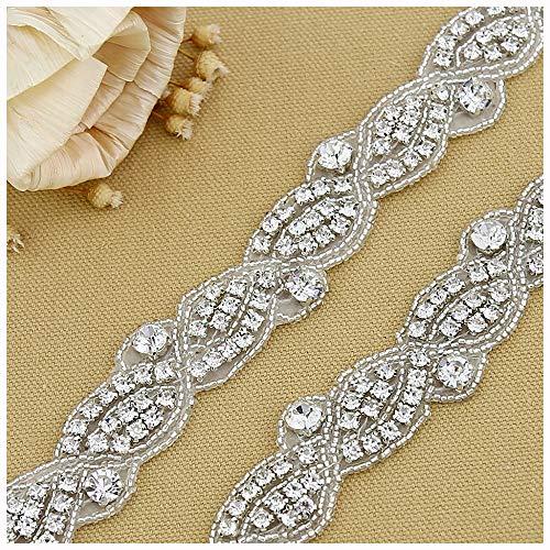 Add Rhinestones - QueenDream Elegant Wedding Silver Rhinestone Applique with Pearls -4 Yard