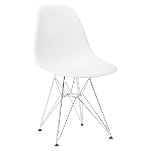 Poly and Bark Modern Mid-Century Dining Padget Side Chair for Dining room, Living room, Kitchen and Patio, White