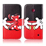 Lumia 635 Case Nokia Lumia 635 Kickstand Case,Tribe-Tiger Minnie Mickey Series Premium Leather[Card Slot][Flip][Stand][Wallet]Cover Case for Nokia Lumia 635(Mickey Mouse)