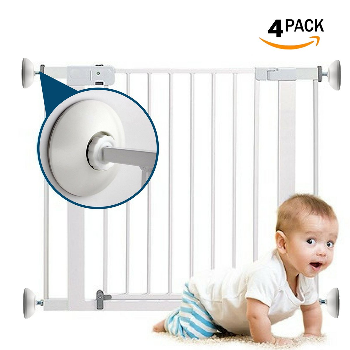 Baby GATE Wall Cups (4 Pack) Wall Protectors for Baby Safety Gates | Prevent Paint Damage, Bumper Pads are Universal for Doorway, Stairs, Works with Dog Pet Child Kid Pressure Mounted Cups