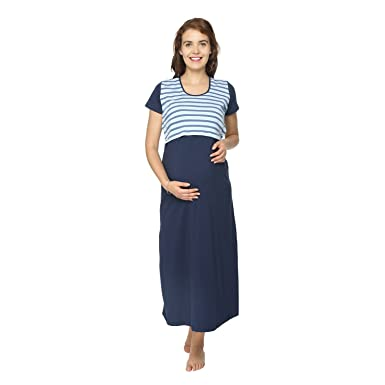 Morph Maternity - Navy Blue Nursing Nighty - for Pre and Post Pregnancy cc7e13cfd