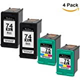 Valuetoner Remanufactured Ink Cartridge Replacement For Hewlett Packard HP 74XL & HP 75XL High Yield CB336WN CB338WN (2 Black, 2 Tri-Color) 4 Pack
