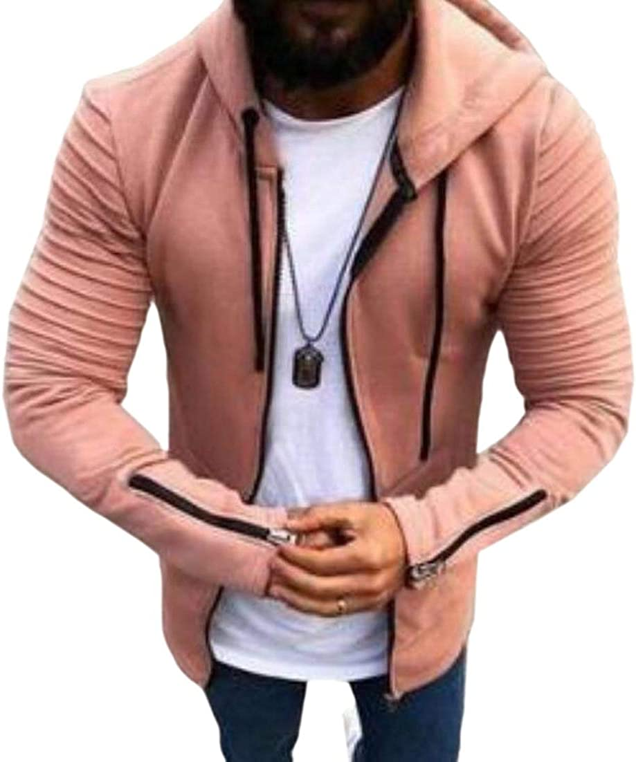 ainr Mens Long-Sleeved Frill Plus-Size Hood Zipper Up Pocketed Sweatshirts Blouse