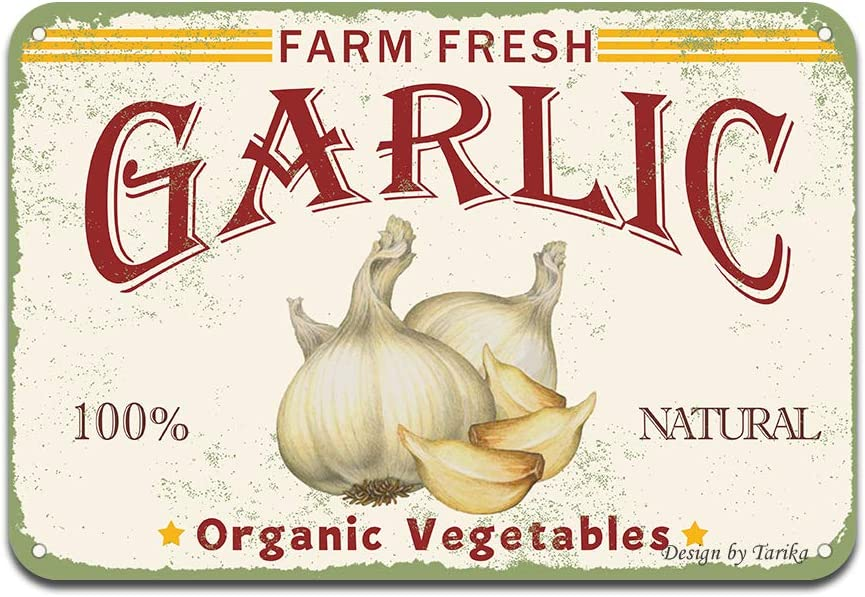 Farm Fresh Garlic 100% Nature Organic Vegetables Iron Poster Painting Tin Sign Vintage Wall Decor for Cafe Bar Pub Home Beer Decoration Crafts