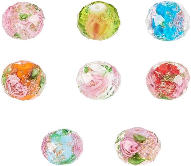 PandaHall Elite 32pcs 10mm Floral Lampwork Beads Surtido Color Oro Arena facetado Perlas de vidrio para pulsera collar joyería suministros