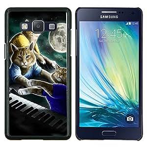 YiPhone /// Prima de resorte delgada de la cubierta del caso de Shell Armor - Gatos Arte Pintura Piano Luna - Samsung Galaxy A5 A5000